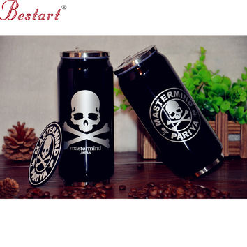 Skull Vacuum Flasks Thermoses Stainless Steel Portable Drinking water bottle with Straw Used Warmer Vacunm Cup  garrafa termica