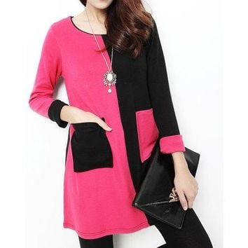 Sweet Scoop Neck Long Sleeve Color Splicing Dress For Women