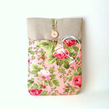 Laptop Sleeve, Custom Padded Bag 11, 12, 13, 14, 15 inch Case, Macbook Lenovo Sony Vaio Dell Acer HP Asus, Vintage Rose Floral Flower Cover