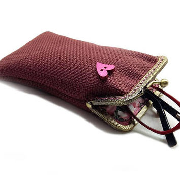 Sunglasses Case, Valentine's Gift for Her, Single Glasses Case, Dark Pink Upholstery fabric, Kiss Lock Antique Bronze Frame