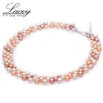 Real Freshwater double bridal multilayer pearl necklace women,wedding natural chunky choker necklaces multi jewelry mother gift