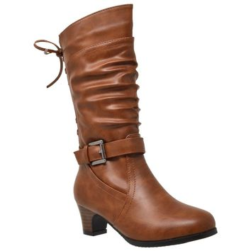 Knee High Corset Lace Up Back Buckle Strap Boots