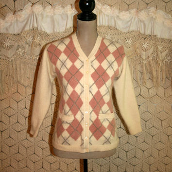 Womens Vintage Argyle Cardigan Sweater Wool Angora XS Small Cream Pink Gray Vintage Cardigan Soft Grunge Sweater Vintage Womens Clothing
