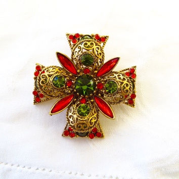 Emmons Maltese Cross Brooch Vintage Olive Green and Orange Rhinestone Couture Costume Jewelry