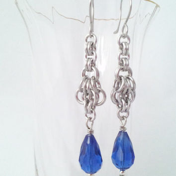 Chainmail, Blue Glass beads, Hypoallergenic stainless steel earrings