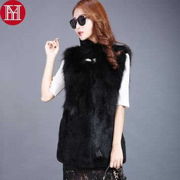 2017 New Style Brand Women Real Natural fox Fur Vest  Lady fox Fur Coat 100% Real Genuine Full Fox Fur and Rex Rabbit Fur Gilet