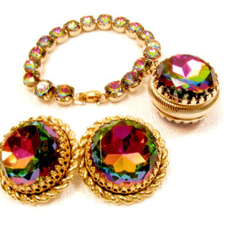 Schiaparelli Bracelet Set With Earrings, Watermelon Headlight Rhinestones, Vintage Couture, Vitrail Medium, Heliotrope, Tourmaline, Fob