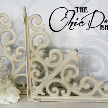 "Shelf Bracket / Set of Two / 8""x 8"" / Cast Iron / Cottage Shabby Chic"