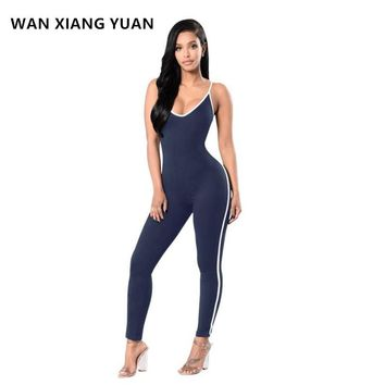 WAN XIAN GYUAN Rompers Womens Jumpsuit 2017 Sexy Romper V-Neck Sleeveless Spaghetti Strap Coveralls Red Jumpsuit 1010