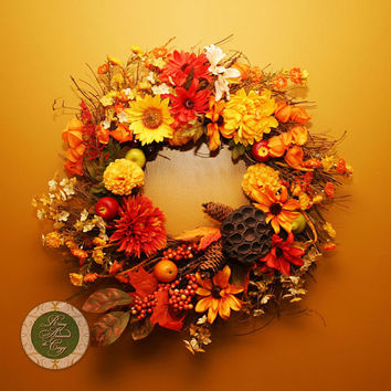 Thanksgiving Wreath Thanksgiving Decor Fall Wreath Fall Decor Twig Wreath with Flowers, Fruit, Leaves and Berries wreaths under 100