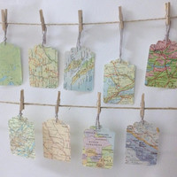 Vintage Atlas Map Tags - Set of 10 - wedding favours, travel theme wedding, bon voyage party, baby shower tags