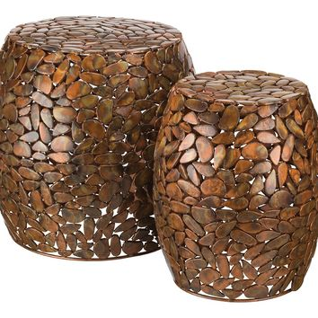 Pebbles of Copper Metal Indoor Outdoor Stools / Ottoman / Tables (Set of 2)