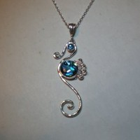 Seahorse Necklace in Abalone Shell and Sterling Silver | FantaSea Jewelry STX