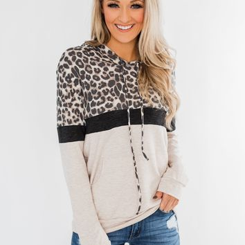 Into the Jungle Color Block Hoodie- Dark Charcoal & Oatmeal