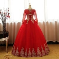 Gold Lace Appliques Red Wedding Dress Long Sleeves O-Neck Tulle Puffy Bride Gowns