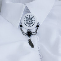 Brooch Earrings embroidered jewelry elegant beaded white black gemstone Natural Agate Ukrainian office style tassel dangling lace round