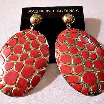 Red Snake Disc Pierced Earrings Gold Tone Vintage Round Domed Button Large Oval Dangle Discs