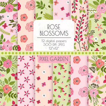 Rose Floral Digital Paper. Pink, Mint, Peach Hand Drawn Peony Rose Blossom Background. Shabby Cottage Chic Scrapbook Paper. Pastel Flowers