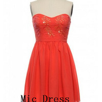 High quality sweetheart sleeveless mini chiffon with seuins short Prom/Evening/Party/Homecoming/Bridesmaid/Cocktail/Formal Dress