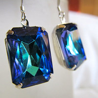 Caribbean Nights-  Bermuda Blue Vintage Czech Jewels Rhinestones Octagon Silver earrings