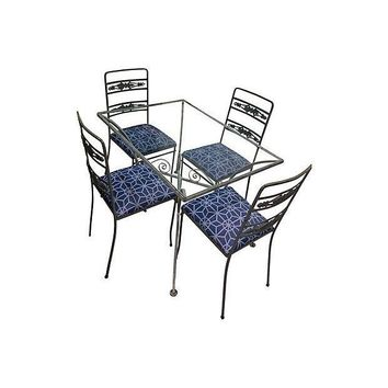 Pre-owned Wrought Iron Bistro Table & 4 Chairs