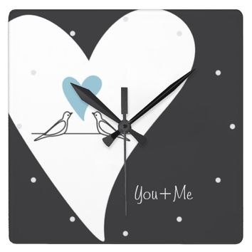 Cute White Doves in Love Personalized Wall Clocks: Name / Message Template: Her Birthday, Valentine's Day, or Wedding Gift Idea