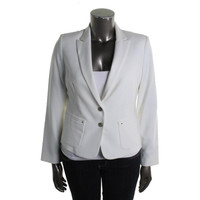 Anne Klein Womens Long Sleeves Peak Collar Two-Button Blazer