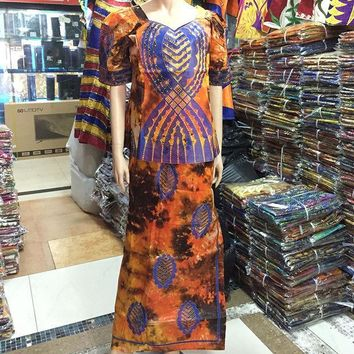 PEAPGB2 2016 African Lady New Style Women Riche Bazin Print  Dress Embroidery Dashiki Half sleeves Design With Gele Colorful M2354-1