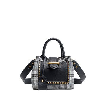 Studded Decor Houndstooth Shoulder Bag Black