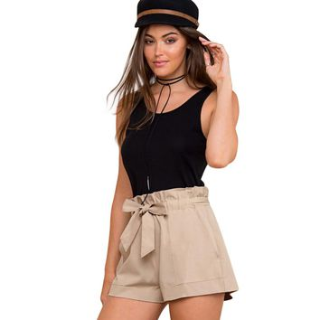 2017  Women Summer Shorts Solid Color High Waist Shorts With Belt Ladies Pocket khaki Shorts Suitable for Casual Beach Party