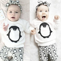 Penguin Baby Girls Boys Clothes Long Sleeve T-shirt + Pants Legging Cute 2PCS Outfits Baby Boy Girl Clothing Set
