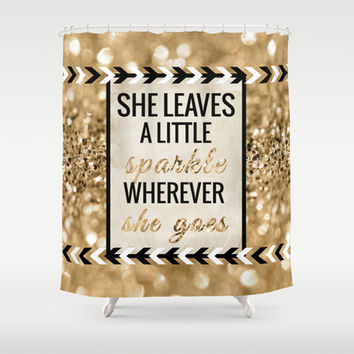 She Leaves a Little Sparkle Wherever She Goes Shower Curtain by Tangerine-Tane
