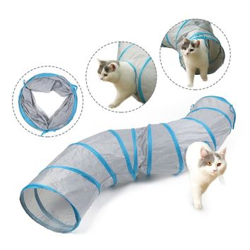 S shape Cat Tunnel Long 130cm Funny Pet Tunnel Cat Play Tunnel Kitten Play Toy  Toy Collapsible Rabbit Play Tunnel gato