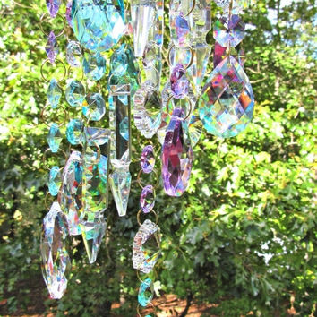 Crystal Wind Chime, Glass Wind Chime,  Window Décor, Gift for Her, Crystal Sun Catcher, Patio décor, Yard Art,  WC 132