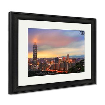 Framed Print, Taipei Taiwan City Skyline Buildings With Taipei 101