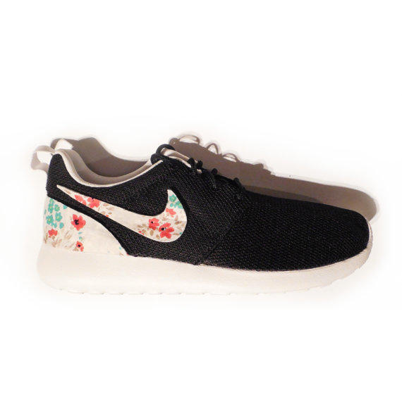 Womens'Girls' Custom Nike Roshe Run BlackPetite Floral V.2.