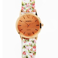 White Its Floral Time Watch
