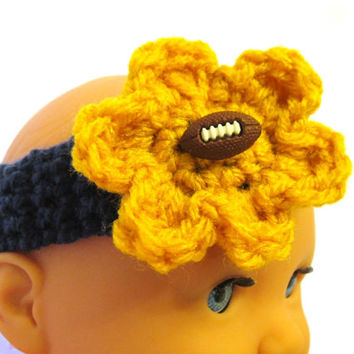 Crochet St. Louis Rams Inspired Football Headband, Crocheted Baby Football Headband, Photo Prop