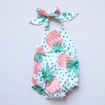 3c0dbf3cf8d2 Sale Pineapple Baby Girl Romper Baby Romper Fruit Halter Beach Summer  Toddler Bubble Romper Outfits Sunsuit