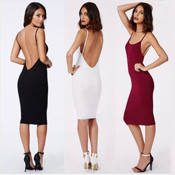 2015 Women Hot New Fashion Summer Backless Sleeveless Party Sexy Long One-Piece Singlet Dress Beach Dress Tight Skirt Ball Gown = 1958240324