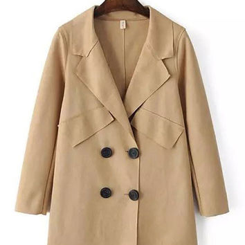 Collar Double-Breasted Trench Coat