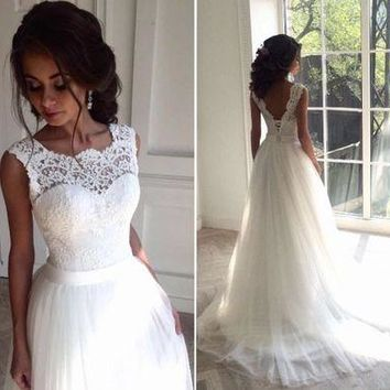 White brief wedding dress boho 2017 cheap dress for bride plus size bridal dress vestido longo country style wedding gowns