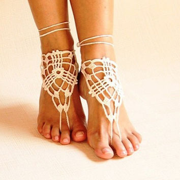 Beach crochet wedding barefoot Sandals White ,Nude shoes, Foot jewelry,Victorian Lace,Yoga shoes,Bridal anklet,beach accessories