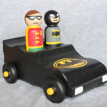 Batmobile and two Superheroes- PegBuddies Peg Doll Car - Hand Painted with your choice of two Superhero Pegs