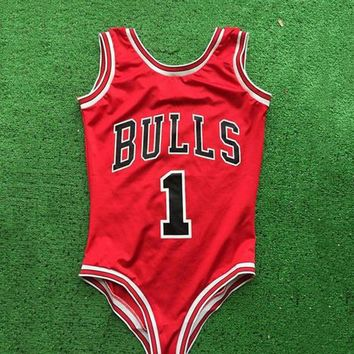 2017 Red Thong one piece swimwear New Arrival Women Sexy Monokini Bulls Bodysuit Swimsuit bathing Suit Letter Beach wear S-XL