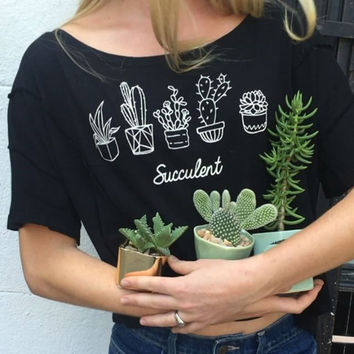 Women Pot Flower Printed T shirt