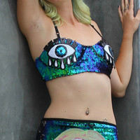 Turquoise Eyes and Mouth Sequin Women's Rave Set