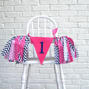 Girl Birthday banner - 1st birthday decor - Nautical Girl birthday - Fist Birthday Decor - 1st birthday party - Girl 1st Birthday Decoration