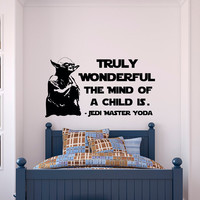 Yoda Wall Decal Star Wars Quotes Truly Wonderful The Mind Of A Child Is- Star Wars Wall Decal Kids Room Boys Bedroom Wall Art Quotes Q264