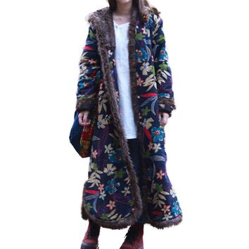 Single Breasted Autumn Winter Jacket Floral Chinese Style Cotton Padded Trench Coat Hooded Women Jacket Quilted Long Windbreaker